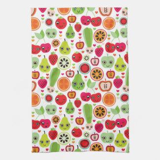 フルーツはイラストレーションのりんごをからかいます キッチンタオル