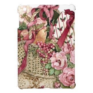 フルーツ及びピンクのバラのビクトリアンなバスケット iPad MINIカバー
