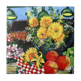 フルーツ及び花 タイル