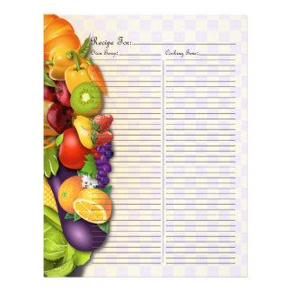 フルーツ及びVegesのレシピのつなぎ- 2のためのレシピのページ レターヘッド