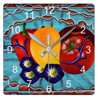 フルーツ野菜 スクエア壁時計