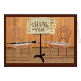 フルートおよびクラリネットとのありがとう グリーティングカード