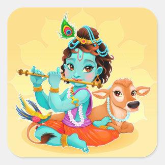 フルートのイラストレーションを遊んでいるKrishnaのインドの神 スクエアシール