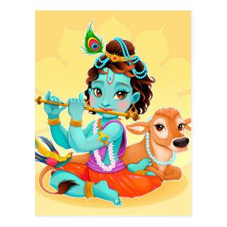 フルートのイラストレーションを遊んでいるKrishnaのインドの神 ポストカード