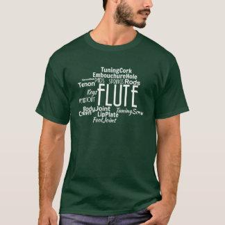 フルートの単語の雲の白の文字 Tシャツ