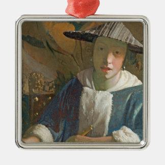 フルートを持つ若い女の子、c.1665-70 メタルオーナメント
