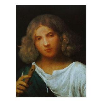 フルートを持つGiorgione-の男の子 ポストカード