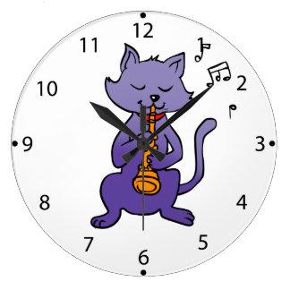 フルートを演奏している漫画猫 ラージ壁時計