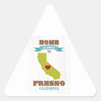 フレズノ、カリフォルニアの地図-ハートがあるところでがあります家 三角形シール