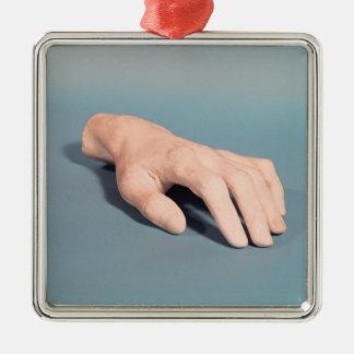 フレデリックショパンの手の鋳造物 シルバーカラー正方形オーナメント