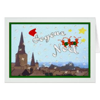 フレンチクォーターのCarolingのCrawfishのクリスマス(緑) カード