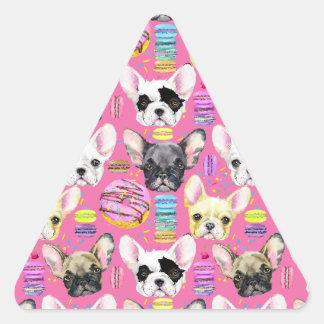 フレンチ・ブルドッグおよび虹のフランス人のMacaronのクッキー 三角形シール