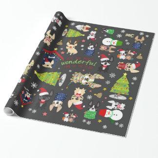 フレンチ・ブルドッグのクリスマスの休日の包装紙 ラッピングペーパー