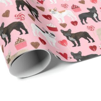 フレンチ・ブルドッグのバレンタインの包装紙 ラッピングペーパー