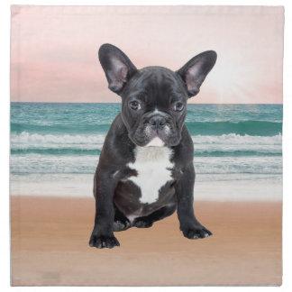 フレンチ・ブルドッグのビーチの日曜日かわいい水 ナプキンクロス