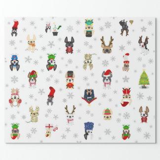フレンチ・ブルドッグの休日のクリスマスの包装紙 ラッピングペーパー