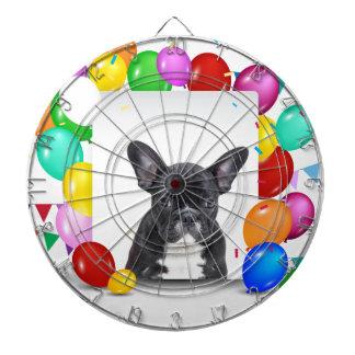 フレンチ・ブルドッグの子犬のカラフルの気球の誕生日 ダーツボード