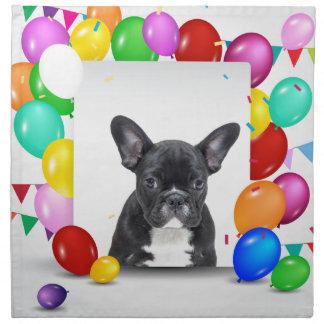 フレンチ・ブルドッグの子犬のカラフルの気球の誕生日 ナプキンクロス