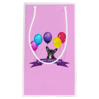 フレンチ・ブルドッグの子犬のハッピーバースデーのギフトバッグ スモールペーパーバッグ