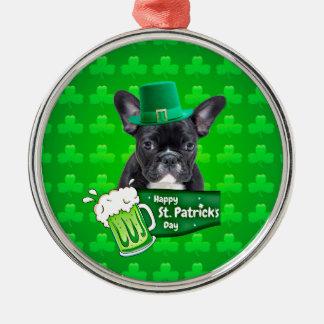 フレンチ・ブルドッグの子犬の帽子のセントパトリックかわいい日 メタルオーナメント
