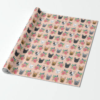 フレンチ・ブルドッグの花模様の包装紙-かわいい犬 ラッピングペーパー