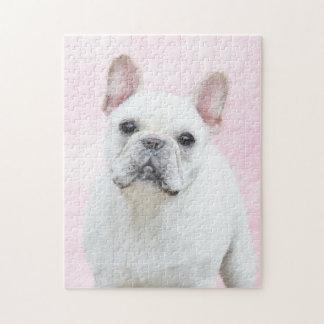 フレンチ・ブルドッグの(クリームか白)絵画-犬の芸術 ジグソーパズル