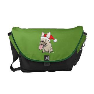 フレンチ・ブルドッグサンタクロース-おもしろいな休日犬 メッセンジャーバッグ