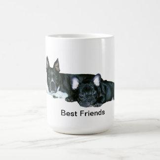 フレンチ・ブルドッグ及びボストンテリアの「親友」のマグ コーヒーマグカップ