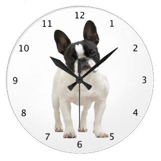 フレンチ・ブルドッグ犬の子犬のかわいく美しい写真 ラージ壁時計