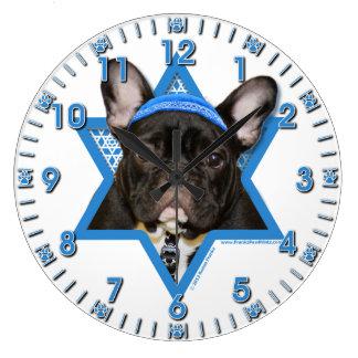 -フレンチ・ブルドッグ-ハヌカーのダビデの星ティール(緑がかった色) ラージ壁時計