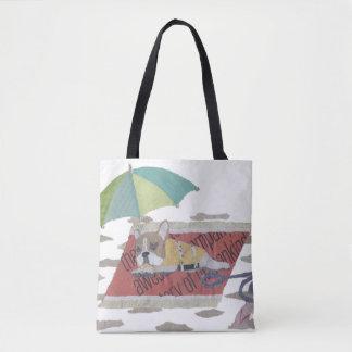 フレンチ・ブルドッグ、雑色のFrenchieのカラフル、かわいい破裂音 トートバッグ