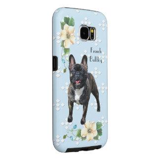 フレンチ・ブルドッグ、青いw/Whiteのダイヤモンド Samsung Galaxy S6 ケース