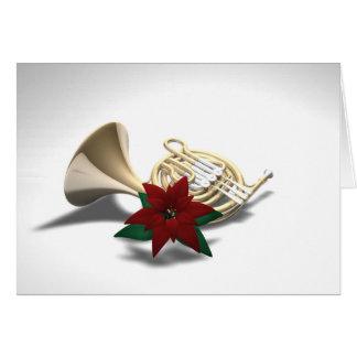 フレンチ・ホルンのポインセチアのクリスマスカード カード