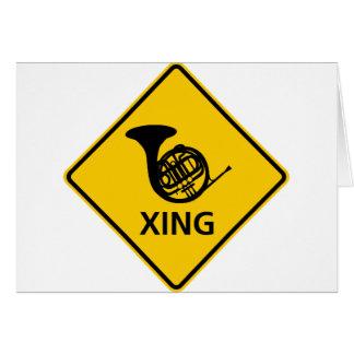 フレンチ・ホルンの交差のハイウェーの印 カード