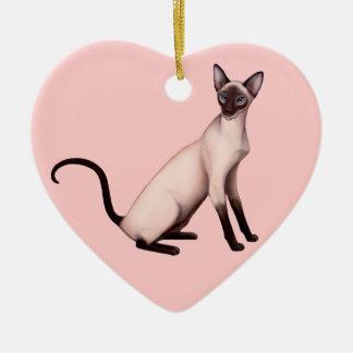 フレンドリーで若いシャム猫のカスタマイズ可能なオーナメント セラミックオーナメント