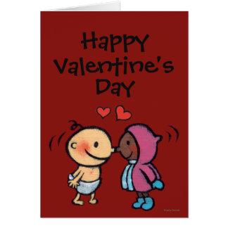 フレンドリーなエスキモーの鼻は子供に接吻します グリーティングカード