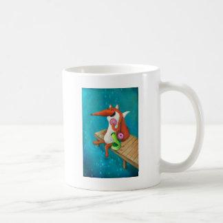 フレンドリーなキツネおよび鶏の食べ物のドーナツ コーヒーマグカップ
