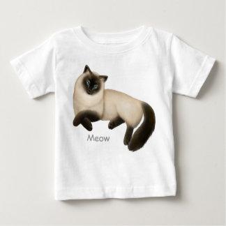 フレンドリーなシャム猫の乳児のTシャツ ベビーTシャツ
