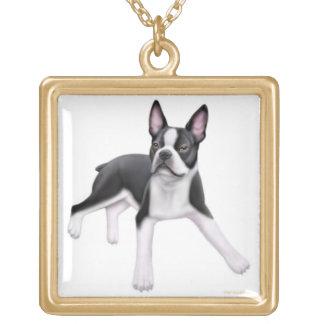 フレンドリーなボストンテリア犬のネックレス ゴールドプレートネックレス