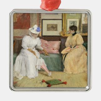フレンドリーな呼出し1895年(キャンバスの油) シルバーカラー正方形オーナメント