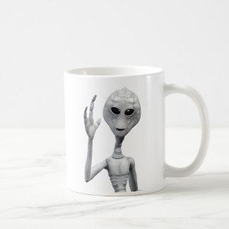 フレンドリーな灰色のエイリアン コーヒーマグカップ