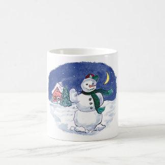 フレンドリーな雪だるま コーヒーマグカップ
