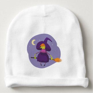 フレンドリーな魔法使いの飛んでいるなほうきのハロウィンのベビーの帽子 ベビービーニー