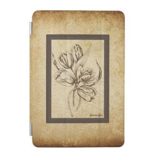フレームとのベージュ色及びブラウンの花のヴィンテージの一見 iPad MINIカバー