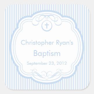 フレームの洗礼の好意のシールの男の子の青の甘い十字 スクエアシール
