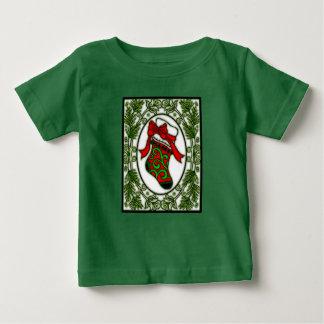 フレーム1aのクリスマスのストッキング ベビーTシャツ