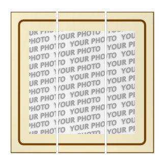 フレーム-ベージュ茶色のフレーム + あなたのイメージ トリプティカ