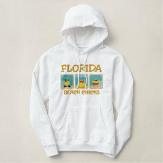 フロリダのビーチのひよこのフード付きスウェットシャツ 刺繍入りパーカ