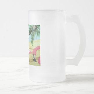 """""""フロリダのフラミンゴ""""の曇らされたマグ フロストグラスビールジョッキ"""