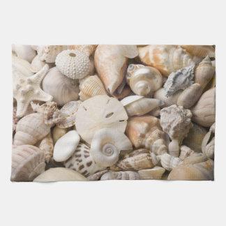 フロリダの海の貝の背景-ビーチはカスタムを殻から取り出します キッチンタオル